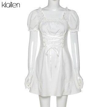 KLALIEN Модное Элегантное Белое Женское мини-платье с бантом летнее праздничное милое пикантное французское романтическое шелковое платье для женщин 6