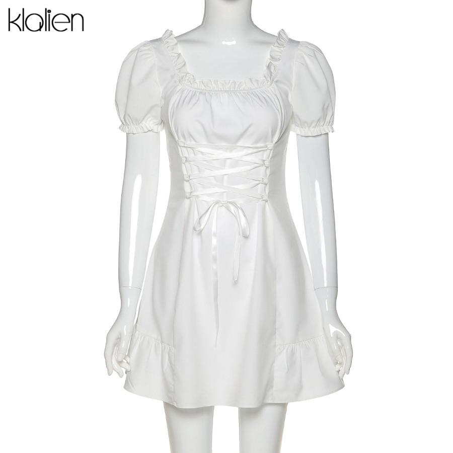KLALIEN Fashion Elegant Bow White Female Mini Dress Summer Party Birthday Festival Cute Sexy French Romantic Silk Dress Women