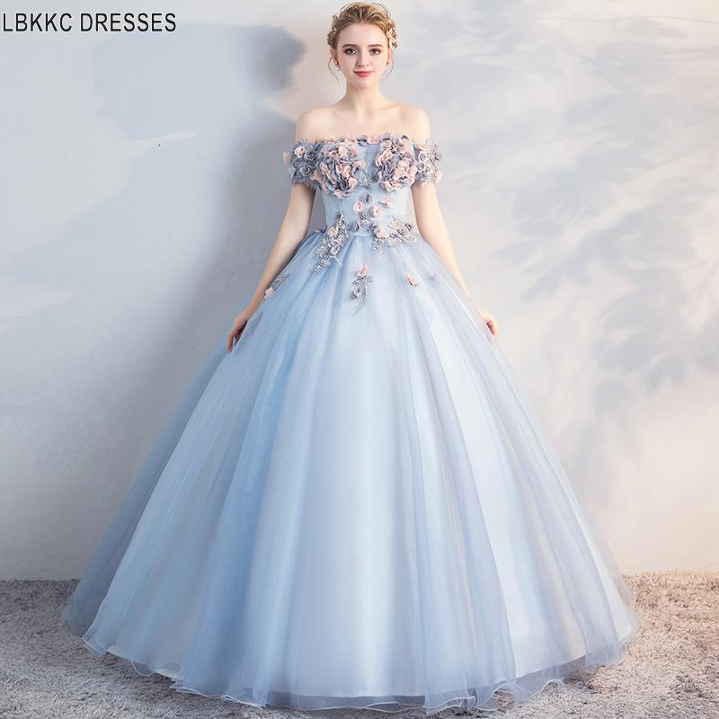 Light Blue Ball Gown Quinceanera Dress Off The Shoulder Ball Gown Sweet 16 Dress Puffy Dresses Party Princess Gowns Prom Dresses
