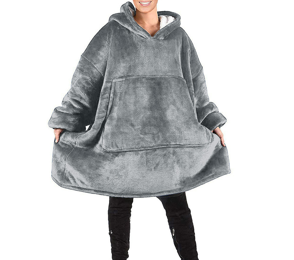 Fleece Oversized Hoodie Women Blanket With Sleeves Warm Women Hoodies Sweatshirts Giant TV Blanket Hoody Robe Casaco Feminino