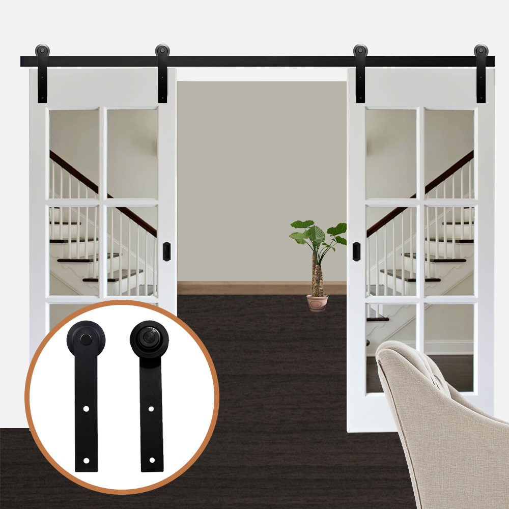 LWZH Antique Style 13FT/14FT/15FT Sliding Wood Door Black Steel Closet Door Hardware I-Shaped Track Kits For Double Door