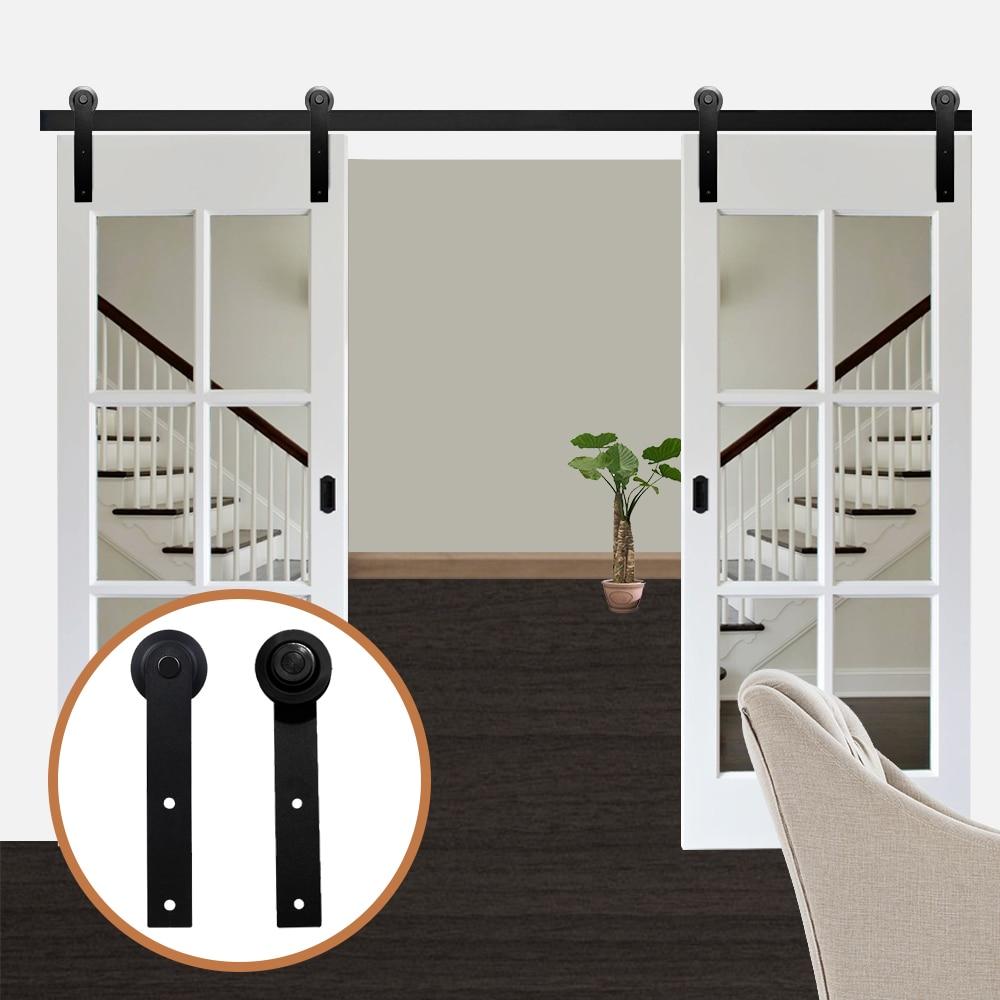 LWZH Antique Style 13FT/14FT/15FT Sliding Wood Door Black Steel Closet Door Hardware I-Shaped Track Kits For Double Door