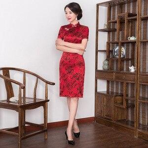 Image 3 - 2019 קינסאנךרה אמיתיות שיפוע דש, אמצע אורך, בכושר משופר Cheongsam, חצאית, שמלה סיטונאי, hongyun מפעל ישיר מכירות