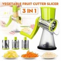 Manual Roller Vegetable Slicer Cutter Potato Chopper Carrot Grater Detachable 3 Stainless Steel Blade Non-Slip Base Meat Grinder