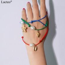 Lacteo 3 Pcs/set Bohemian Golden Sea Shell Pendant Bracelet Bangle Women Fashion Imitation Pearl Charm Female Jewelry