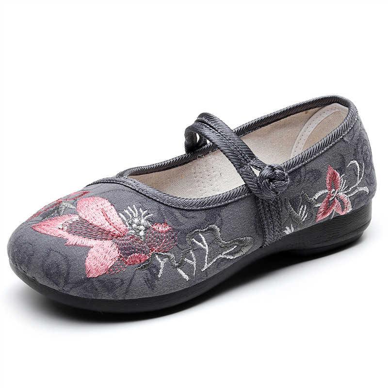 THEAGRANT etnik tarzı ayakkabı kadın 2020 bahar sonbahar rahat ayakkabılar Mary Janes yumuşak işlemeli çin geleneksel daireler WFS3076