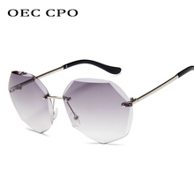 OEC CPO Rimless Sunglasses Women Flower Shaped Metal Leg Personality Female Fashion Gradient Sunglass O150