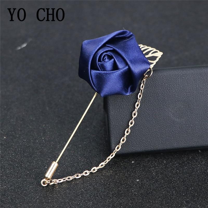 YO CHO Groomsmen Boutonniere Wedding Corsage Men Brooch Pin Burgundy Silk Rose Flower Groom Boutonniere Wedding Flower Accessory