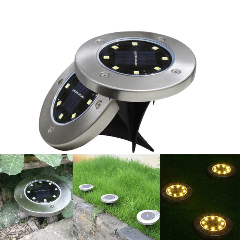 Solar Power Buried Light 8 LED Solar Lawn Lamp Cold/Warm White Waterproof Under Ground Lamp Outdoor Garden Yard Decking Light
