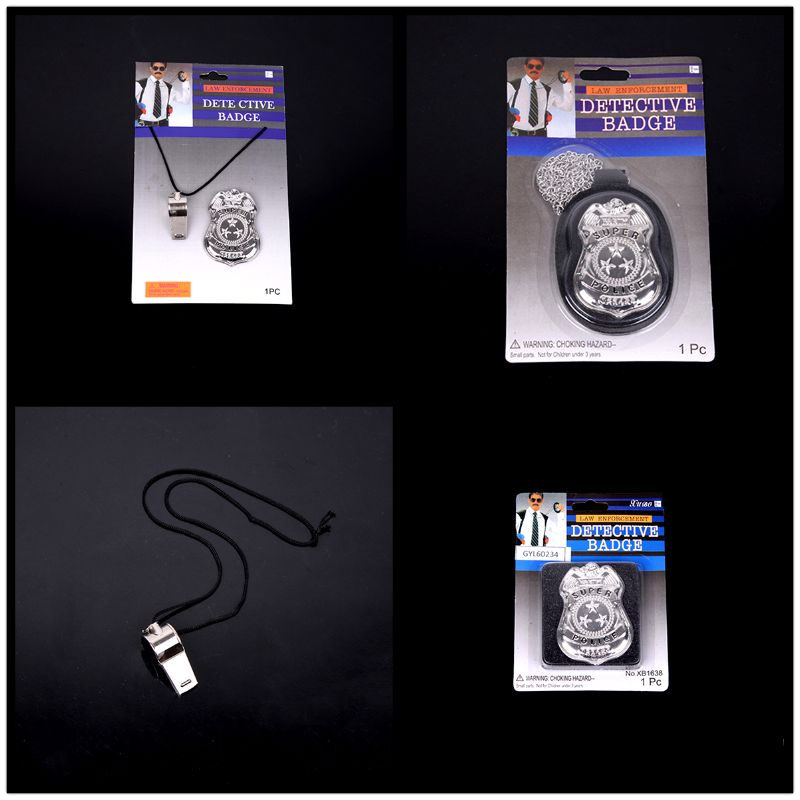 Kids Pretend Play Toys Children Occupation Role Play America Police Special Badge With Chain Toys For Boys Girls