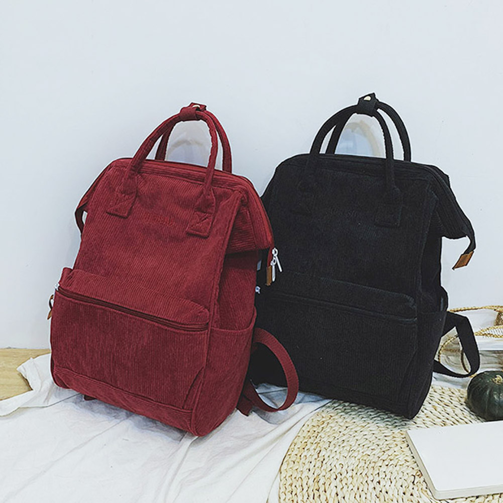 2020 New Corduroy Backpacks For Women Mochila Fashion Casual Style Ladies Solid Color Back Pack For Teen Girls School Backpack