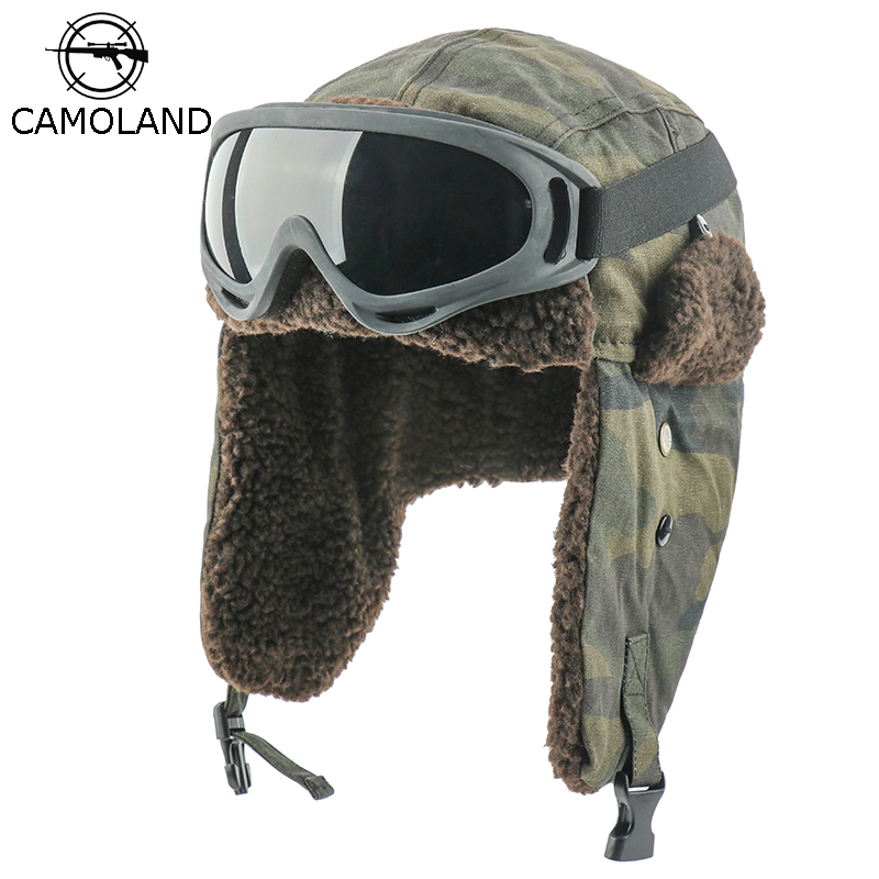 CAMOLAND Winter Bomber Earflap Hats For Women Russian Ushanka Cap With Goggles Male Camouflage Thermal Berber Fleece Snow Caps
