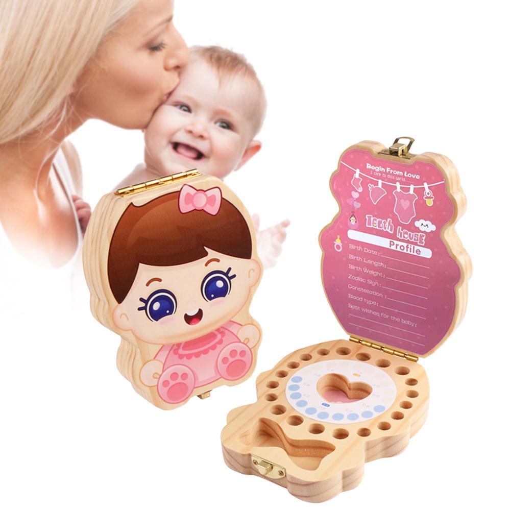 Baby Kids Teeth Organizer Souvenir Box Tooth Wooden Milk Deciduous Teeth Album