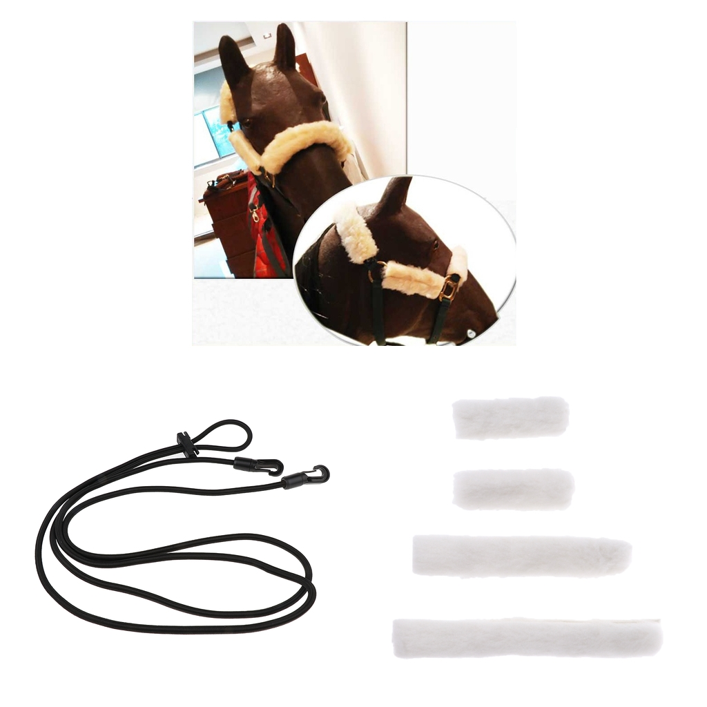Horse Training Equestrian Neck Stretcher + 4pcs Fleece Horse Noseband Covers Horse Halter Bridle Cheekpiece Cover Straps