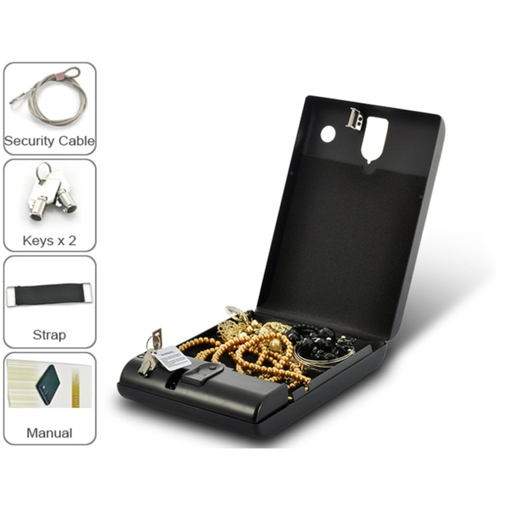 OS100B Portable Pistol Box Scratch-type Fingerprint & Key Lock 2-in-1 Safety Box Valuables Jewelry Storage Case