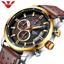 NIBOSI Top marque de luxe chronographe montre à Quartz hommes montres de sport armée militaire en cuir montre bracelet horloge Relogio Masculino