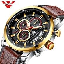 NIBOSI relógio de quartzo esportivo para homens, relógio de pulso esportivo e militar com correia de couro e cronógrafo, de marca famosa e luxuosa