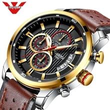 Nibosi 최고 브랜드 럭셔리 크로노 그래프 쿼츠 시계 남자 스포츠 시계 군사 육군 가죽 손목 시계 시계 relogio masculino
