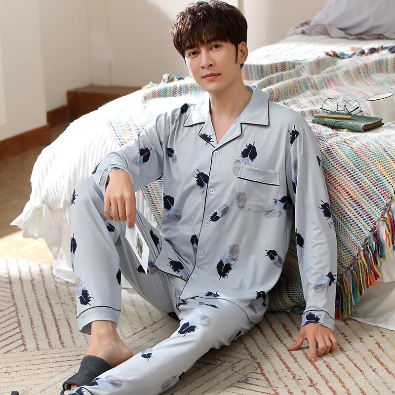 WAVMIT New Style Men's Pajamas Set Spring Autumn Cotton Male Pajamas Sets Long Sleeve Sleepwear Top +Pant Leisure Homewear