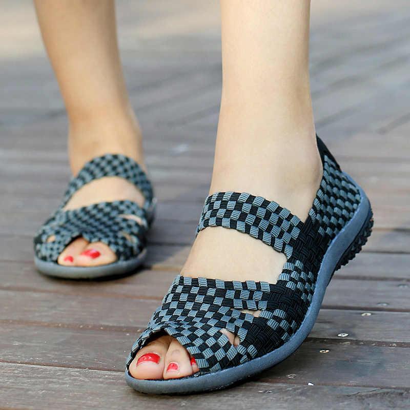 Leve mão-tecer plana esporte sandálias mulher verão deslizamento-on sapatos casuais mujer colorido tênis mocassins mulher mocassins macios