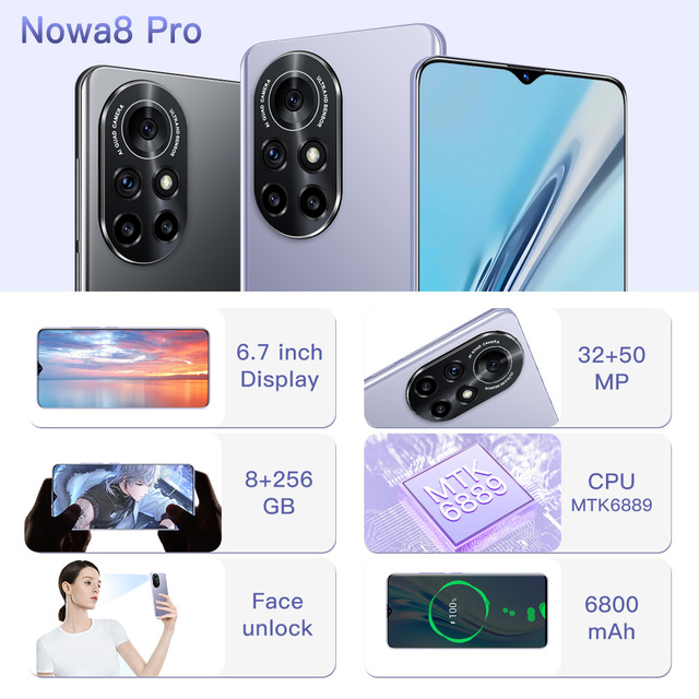 New Arrival Nowa8 Pro Smartphone 64/256/512GB Andriod Phones 6.7Inch Full HD Cellphone 6800mAh 5G Smart Phone SUpport TF Card 5
