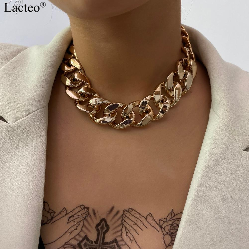 Lacteo Gothic Punk Golden CCB Chain Choker Necklace for Women Vintage Cross Chain Charm Necklace Jewelry Female Accessories Gift 1