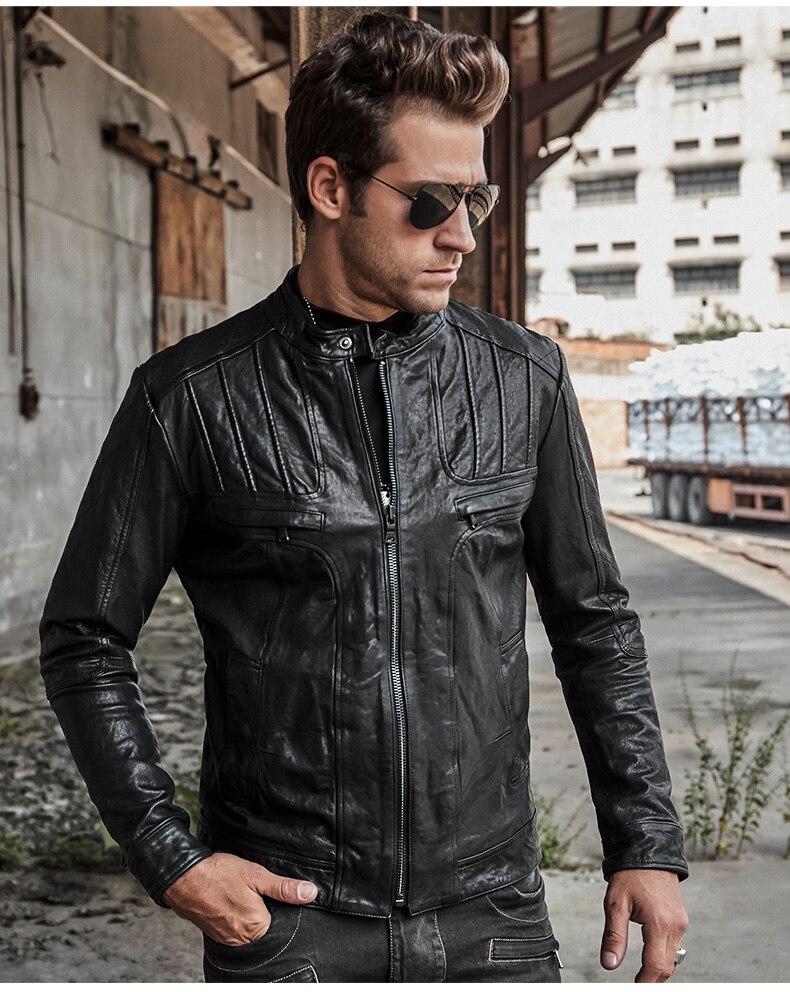 Italian Designer Motorcycle Mens Genuine Leather Jacket Luxury Tanning Sheepskin Short Coat Slim Fit Handsome Man Biker Jacket 5