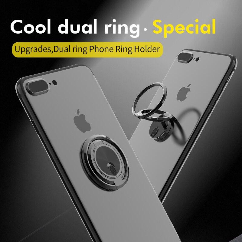 Ossky Cool Dual Ring Phone Finger Ring Holder For Phone 360 Degree Free Rotation 180 Degree Fold Magnetic Phone Ring Holder