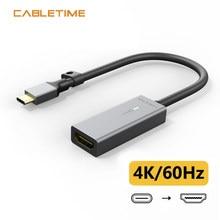CABLETIME – adaptateur USB type-c vers HDMI 4K/60Hz, coque en aluminium plaqué or, convertisseur pour Macbook Air Matebook Xiaomi c216