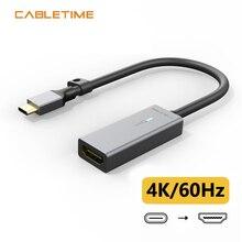 Cabletime Usb C Naar Hdmi Adapter 4K/60Hz Vergulde Aluminium Shell Type C Naar Hdmi converter Voor Macbook Air Matebook Xiaomi C316
