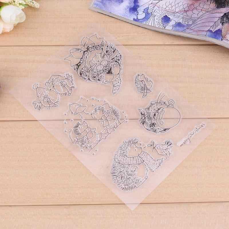 Lovely Hedgehog โปร่งใสซิลิโคนซีล DIY แผ่นตกแต่งภาพแม่แบบ Stencil สมุดบันทึกกระดาษการ์ด