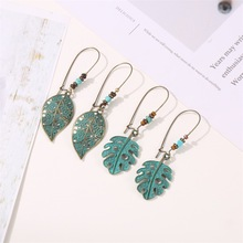 Ethnic Style Fashion Earrings Bohemian Retro Green Plant Elements Ancient Bronze Metal Exaggerated Carved