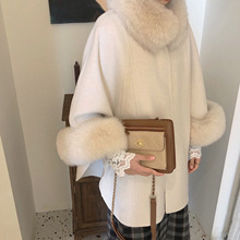 Cape Cashmere-Coat Fox-Fur Winter Fashion Women's New for Reversible Korean-Style Graceful-Mid-Length