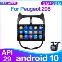 Radio GPS y reproductor multimedia, accesorio con 2 dines y wifi, para Peugeot 206 2000 -2016, 4G, 2G, 32G, IPS, 2 din, Android 10