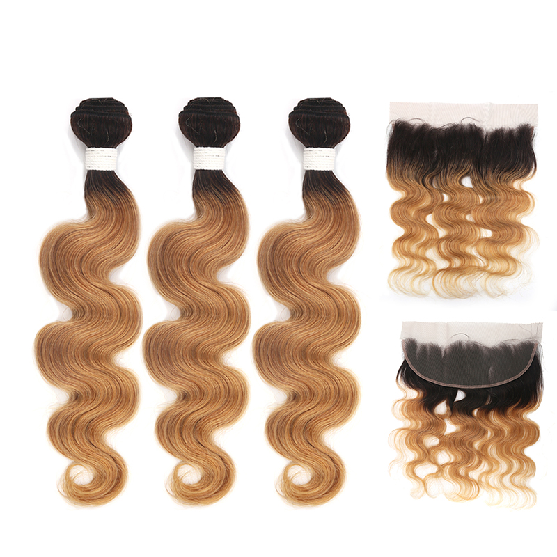 Ombre Brown Body Wave Human Hair Bundles With Closure KEMY HAIR Brazilian 1B/27 Bunldles With 13*4 Lace Frontal Non Remy 3PCS