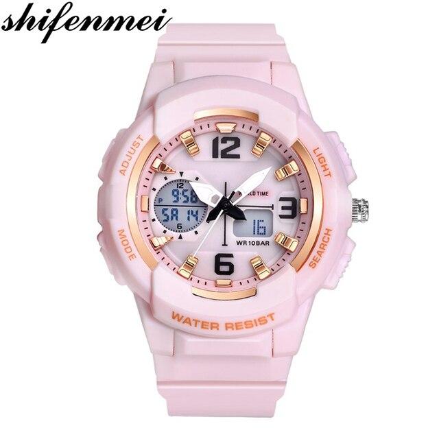 Shifenmei דיגיטלי שעון נשים ספורט נשים שעונים למעלה מותג גבירותיי צמיד שעוני יד קוורץ שעון נשי Relogio Feminino