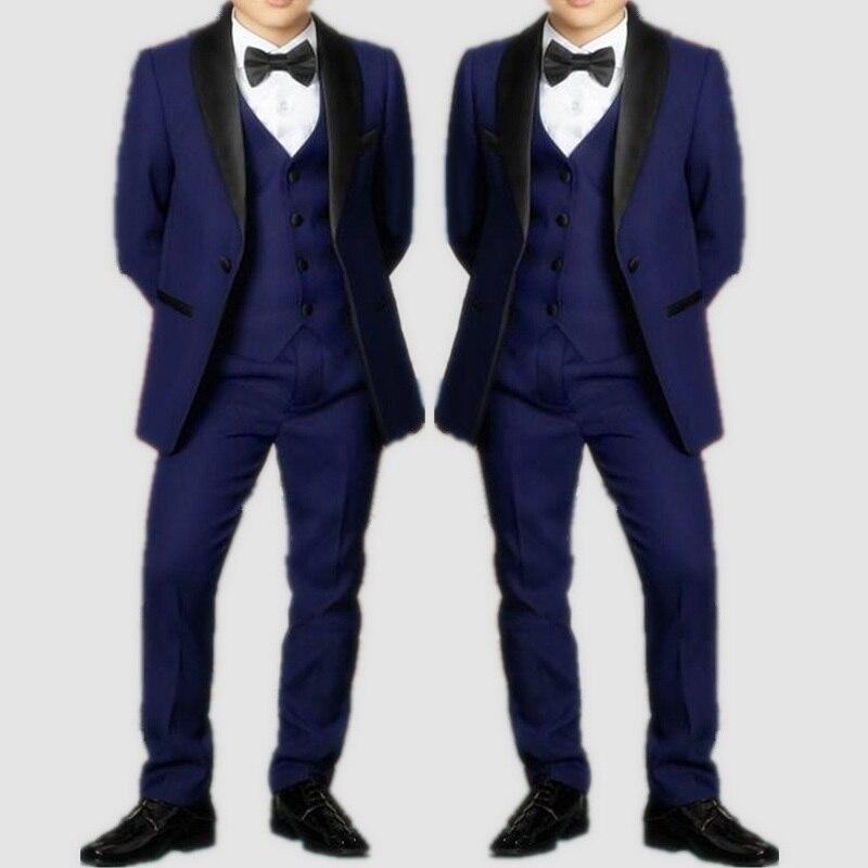 Handsome Navy Blue Boys Tuxedo Boys Dinner Suits Custom Tuxedo for Kids Tuxedo Formal Occasion Suits For Men (Jacket+Vest+Pants)