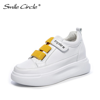 2018 spring beige white leather mesh round toe platform fashion lace up ins hot sale casual designer sneakers women flat shoes Smile Circle White Sneakers Women Genuine Leather Low-Heel Flat Platform Ladies Lace-Up Fashion White Shoes Women
