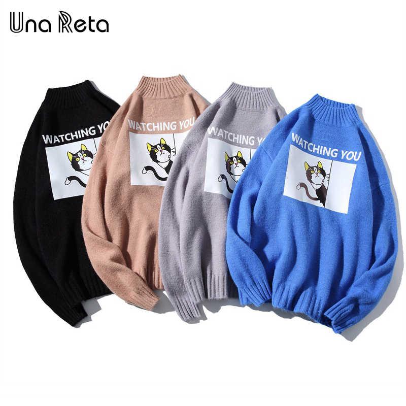 Una Reta คอเต่าผู้ชายเสื้อกันหนาวฤดูใบไม้ร่วงฤดูหนาวพิมพ์ Cat เสื้อกันหนาวเสื้อกันหนาวดึง Homme Casual หลวมเสื้อกันหนาวผู้ชาย