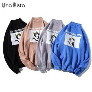 Image 5 - Una Reta Turtleneck Men Sweater New Autumn Winter Print Cat Pullover Mens Sweater Pull Homme Casual Loose Sweater Men