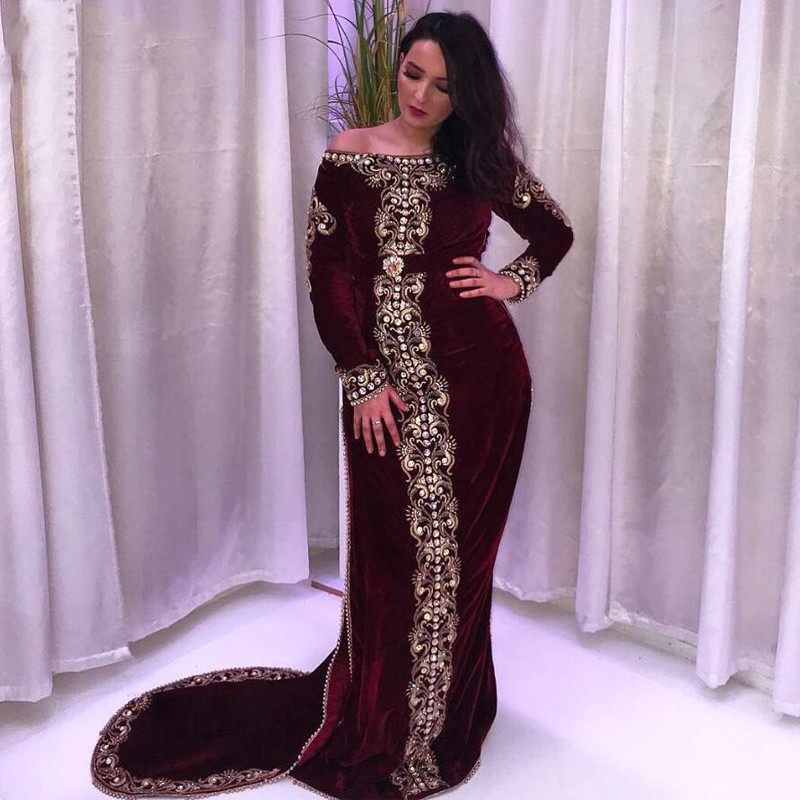 Morocco Kaftan Evening Dresses Boat Neck Appliques Long Sleeves Mermaid Burgundy Muslim Prom Gown Formal Arabic Party Dresses