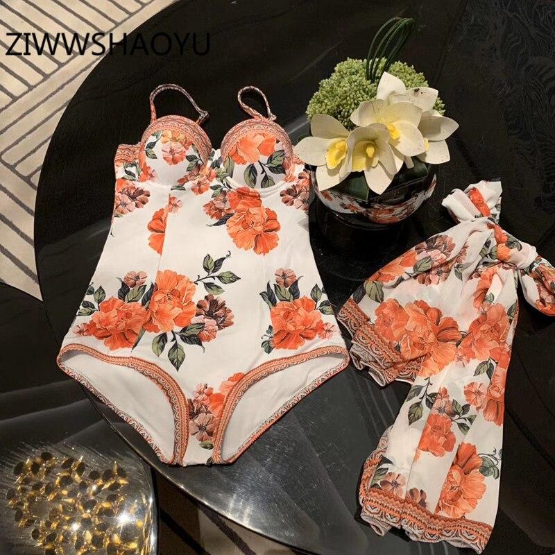 ZIWWSHAOYU Women Summer Backless Sexy Beach Wear Bathing Skinny Bodysuit Ladies Scarves Floral Print Strap Bodysuits