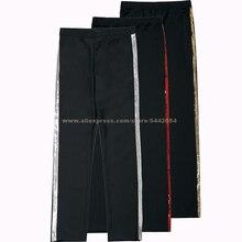 Джинсовые брюки MJ с Майклом Джексоном Билли, серебристые, золотистые, красные прямые черные штаны в полоску, брюки для Хэллоуина, костюм для косплея