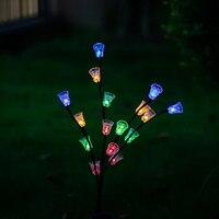 Led 태양 정원 조명 led 크리스마스 조명 집에 대 한 태양 램프 야외 정원 장식 태양 잔디 16led 벨 꽃 빛
