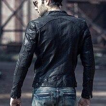 Мужская мотоциклетная байкерская куртка из натуральной кожи, брендовая весенне-осенняя приталенная короткая куртка из овчины, Повседневная Верхняя одежда с воротником-стойкой размера плюс