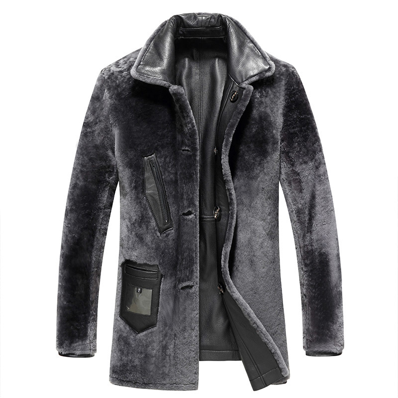 Genuine Leather Jacket Winter Goatskin Coat Men Thicken Real Lamb Fur Coat Plus Size Natural Fur Jacket L17093 KJ842