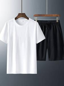 Men Shorts T-Shirts White Running Breathable Fitness Black Summer 6XL Quick-Drying 7xl-8xl