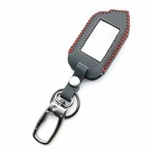 Image 3 - 2 Way LCD المفاتيح عن بعد 100% حافظة جلدية لنظام إنذار سيارة شير خان Mobicar A Mobicar B مفتاح حماية قذيفة