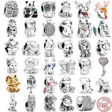 Perles de Panda, hibou, licorne, chat porte-bonheur, chien, Lion, renard, éléphant, adaptées aux bijoux Pandora originaux pour femmes, en argent 925, nouvelle collection