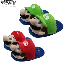 IN 2020 Super Mario Bros Mario Luigi red and green slippers soft cotton